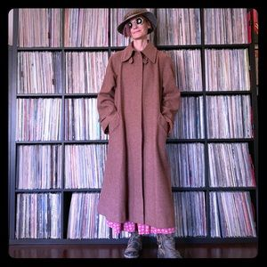 vintage wool coat mauve camel dusty rose maxi